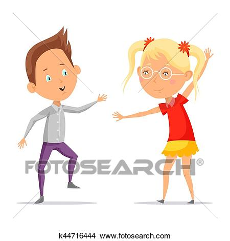 Children dancing or cartoon boy with girl moving Clipart.