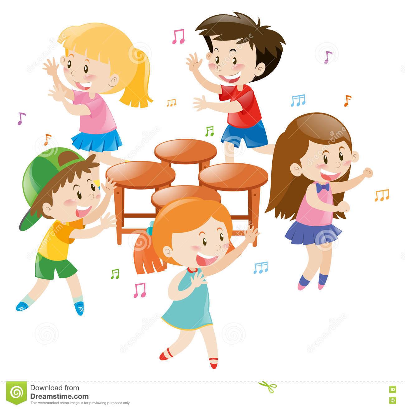 Children Playing Music Chair Stock Illustration.
