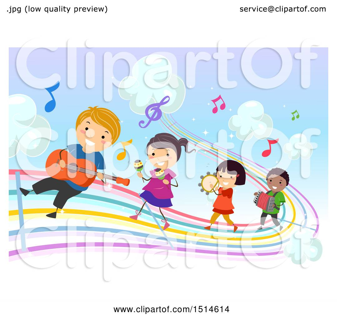 Clipart of a Colorful Rainbow Music Road with Children Playing.