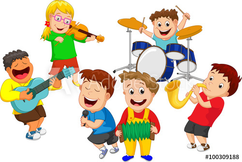 Illustration of children playing music instrument.