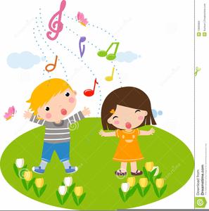 Children Singing Music Clipart.