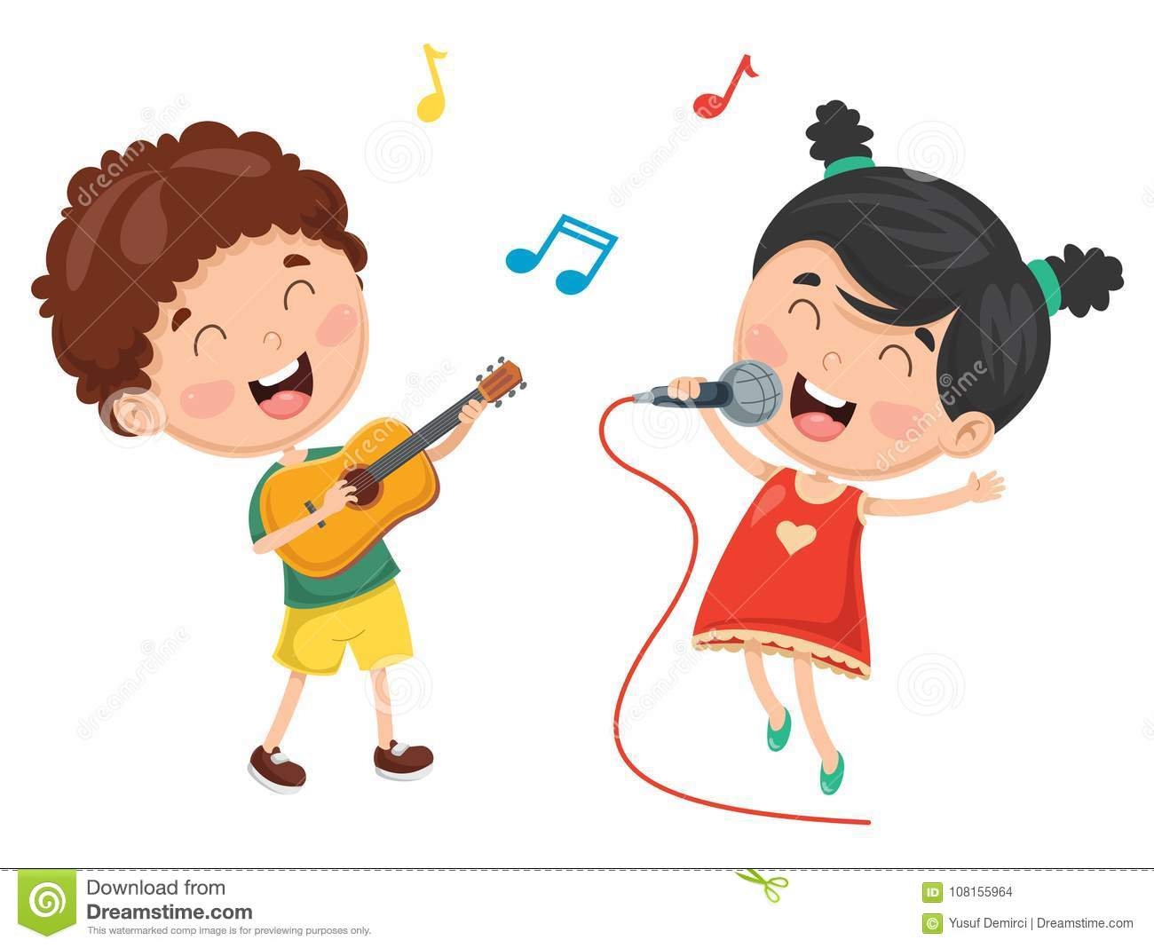 Vector Illustration Of Kid Playing Music Stock Vector.