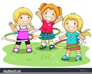 Black White Clipart Children Playing.