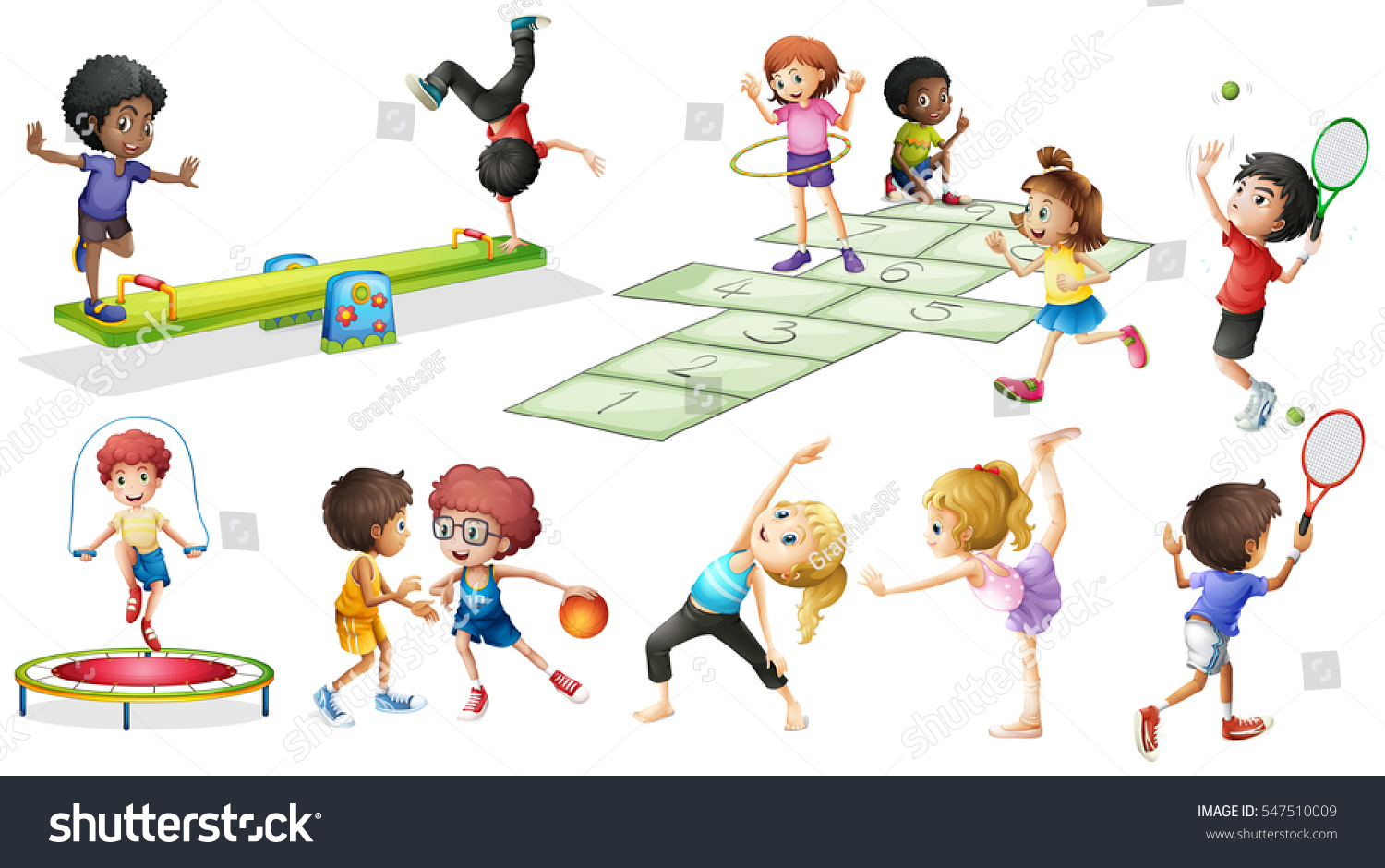Kids Playing Games Clipart.