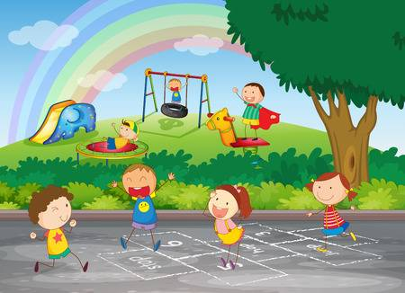 2,576 Kids Playing Outside Cliparts, Stock Vector And Royalty Free.