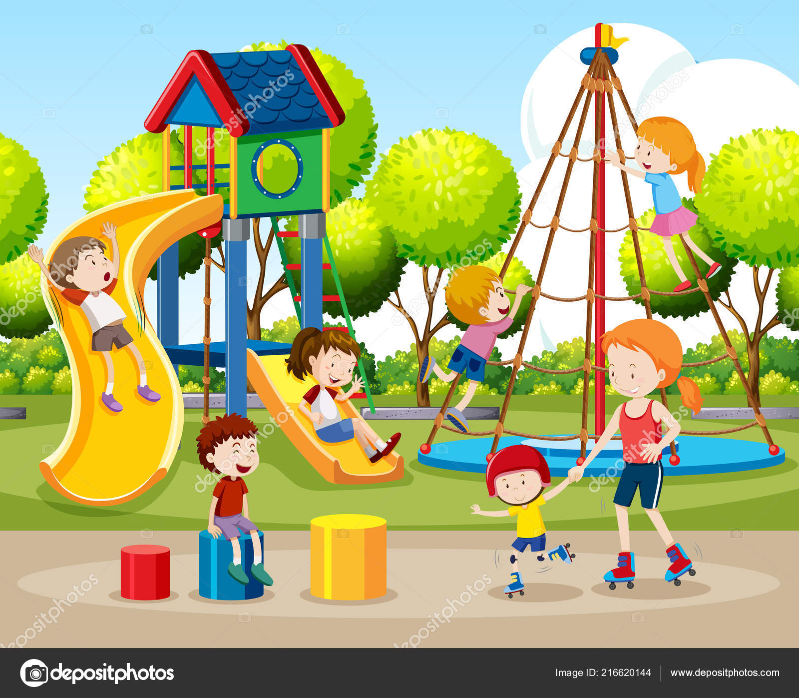 Clipart: children playing outside.