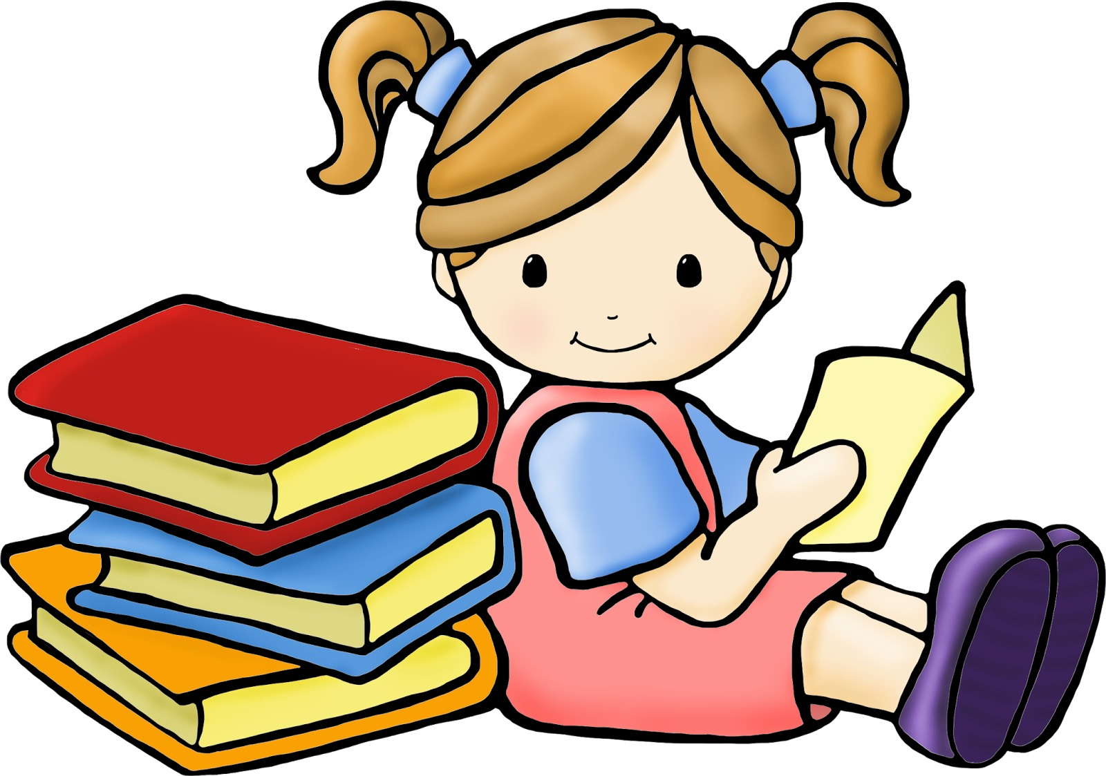 Toddler Reading Clipart.