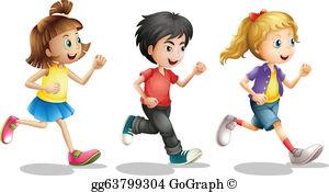 Children Running Clip Art.
