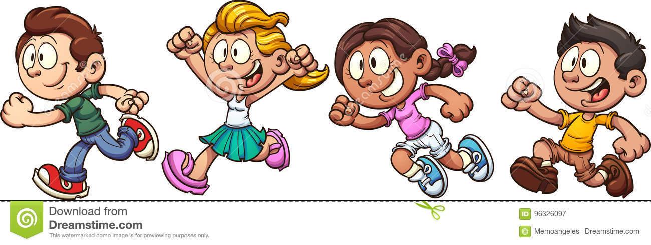 Kids running stock vector. Illustration of each, cute.