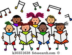 Children singing Clip Art and Stock Illustrations. 480 children.