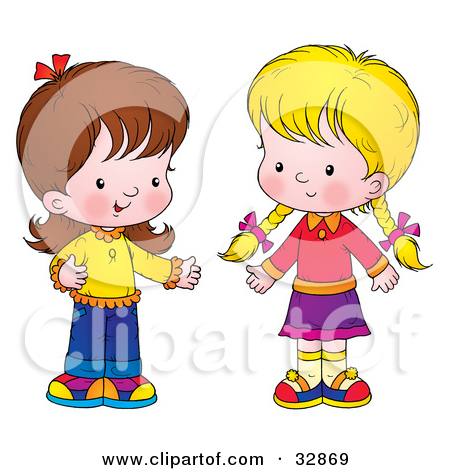 children talking to each other clipart.