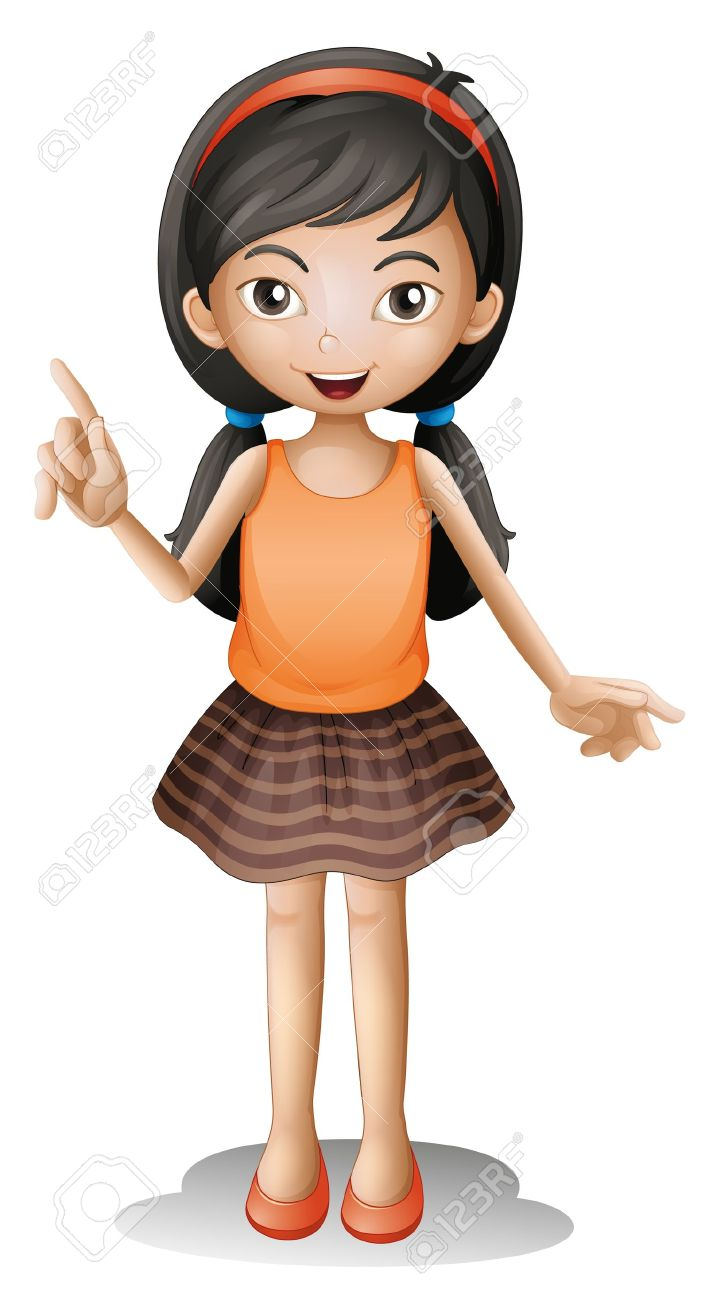 Illustration Of A Girl On A White Background Royalty Free Cliparts.
