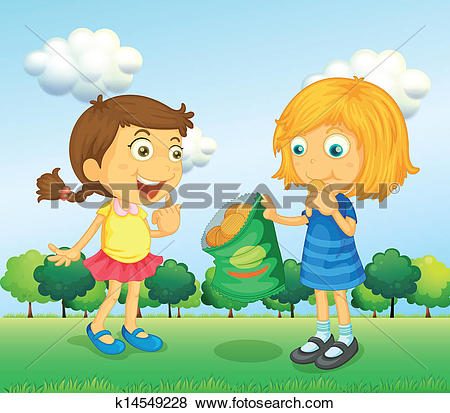 Clip Art of Two children talking k12765058.