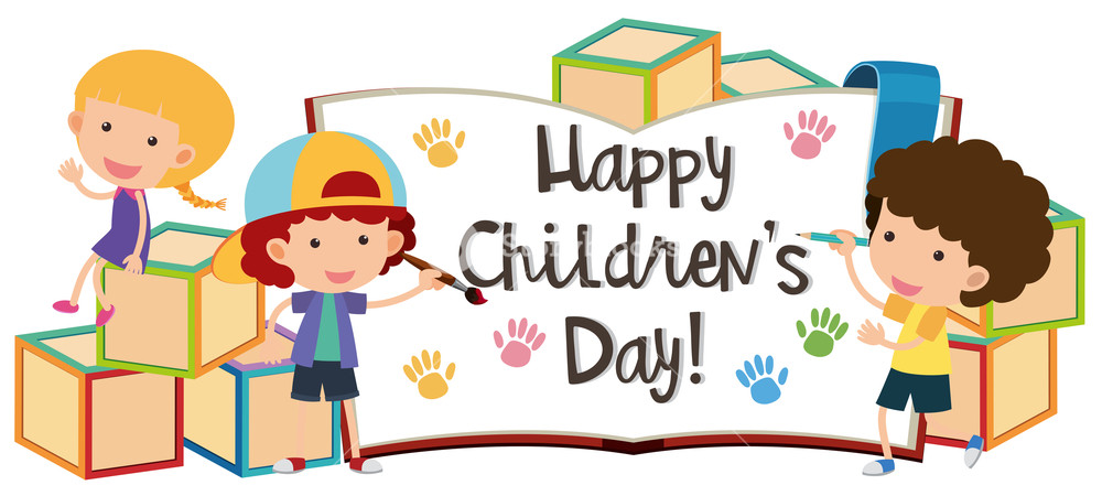 Happy children's day with kids and blocks Royalty.