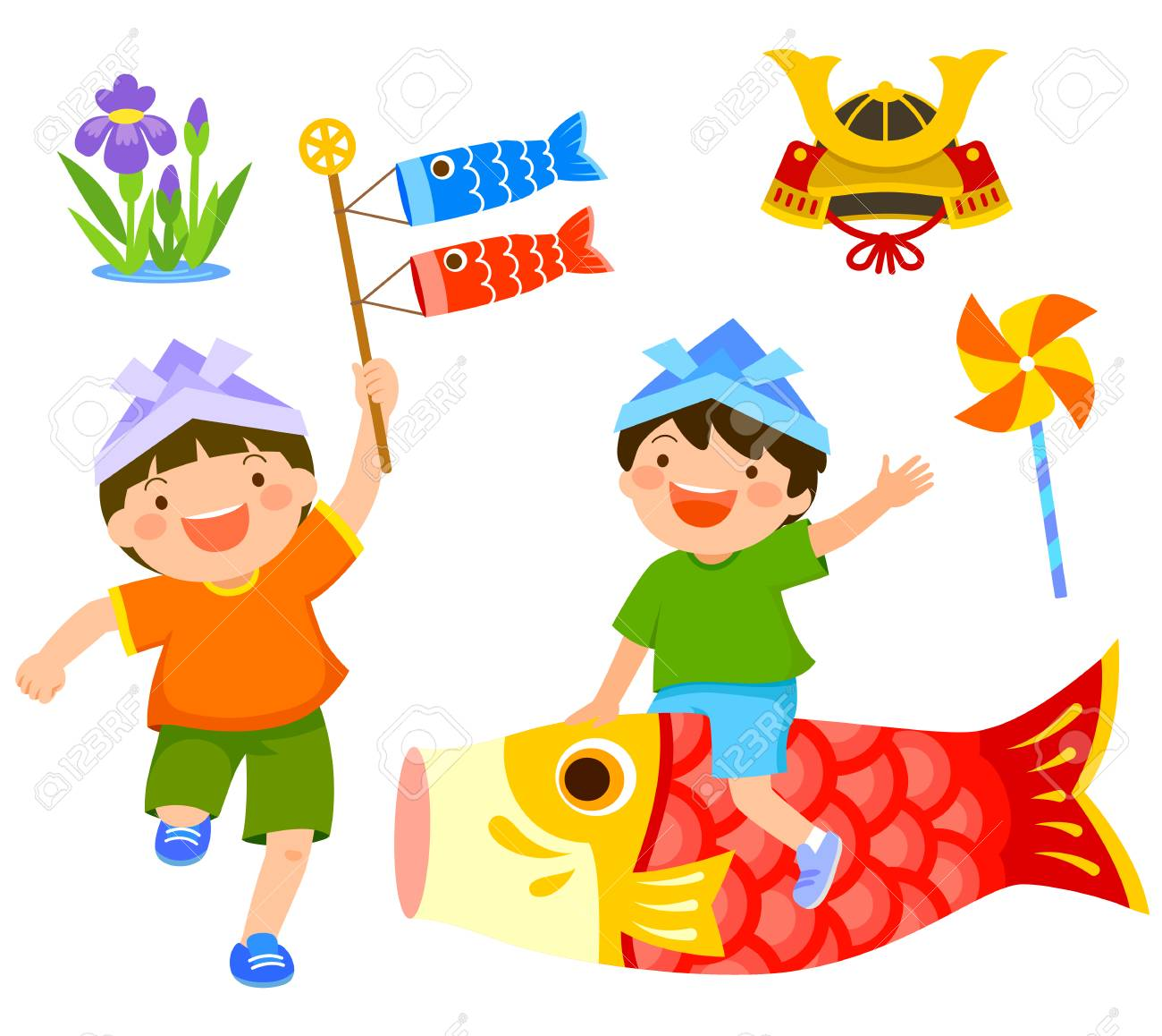 Japan's children's day clip art set. Boy riding a carp and another...
