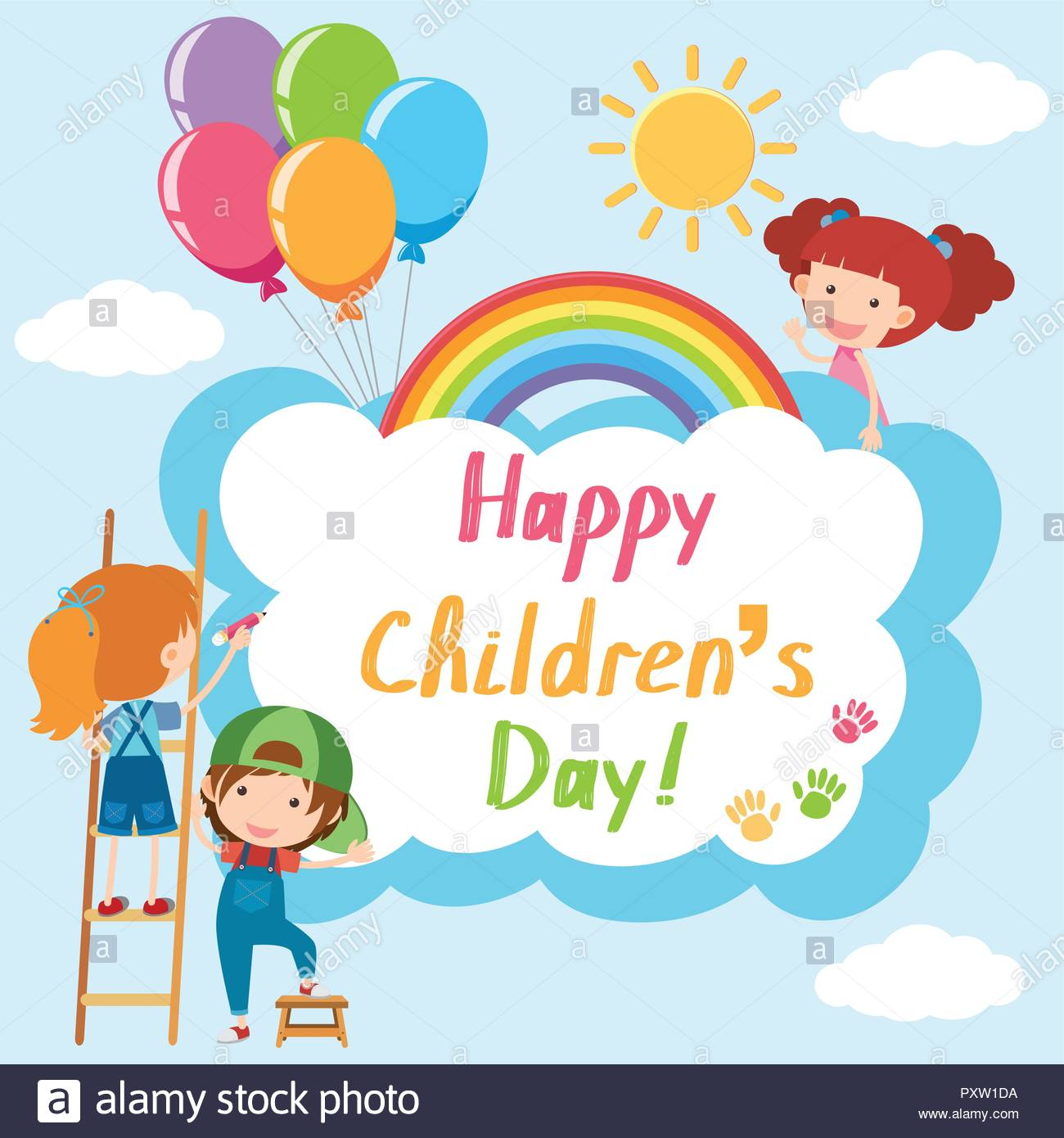 Happy Children's day poster with kids in sky illustration Stock.