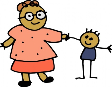Mom Holding Childs Hand clip art free vector.