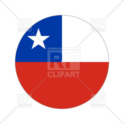 Chile flag round button on white background Vector Image.