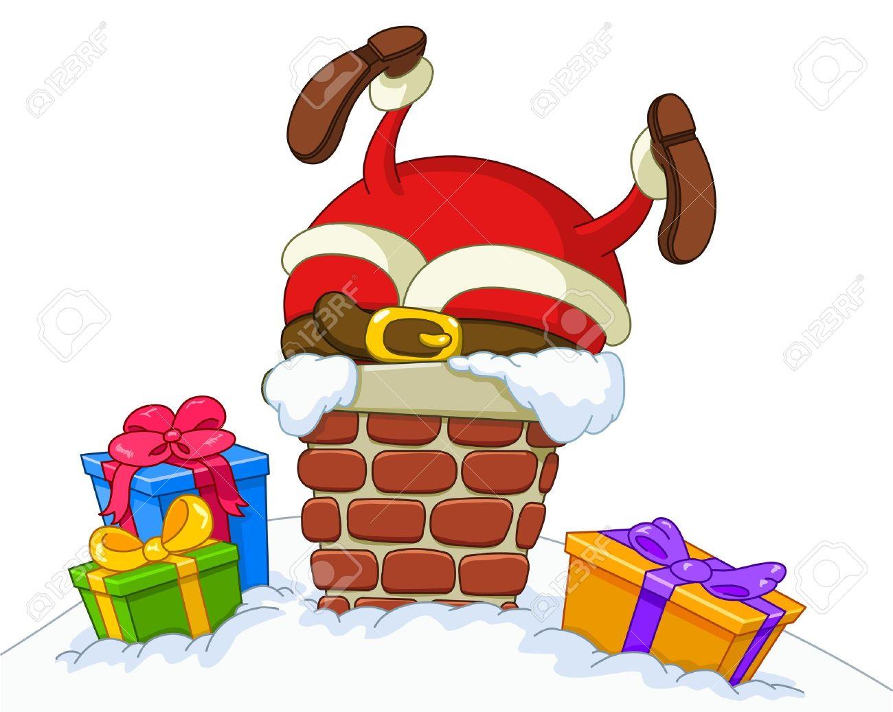Santa Claus stuck in a chimney.