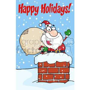 happy Holidays Santa Claus in chimney clipart. Royalty.