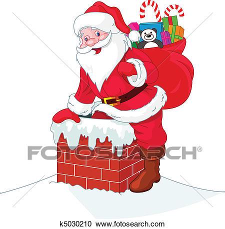 Santa Claus descends the chimney Clipart.