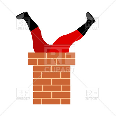 Santa Claus stuck in chimney Vector Image.