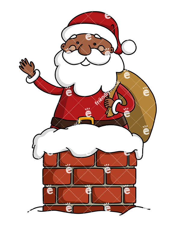 Black Santa Claus In A Chimney With Sack Of Gifts Clipart.