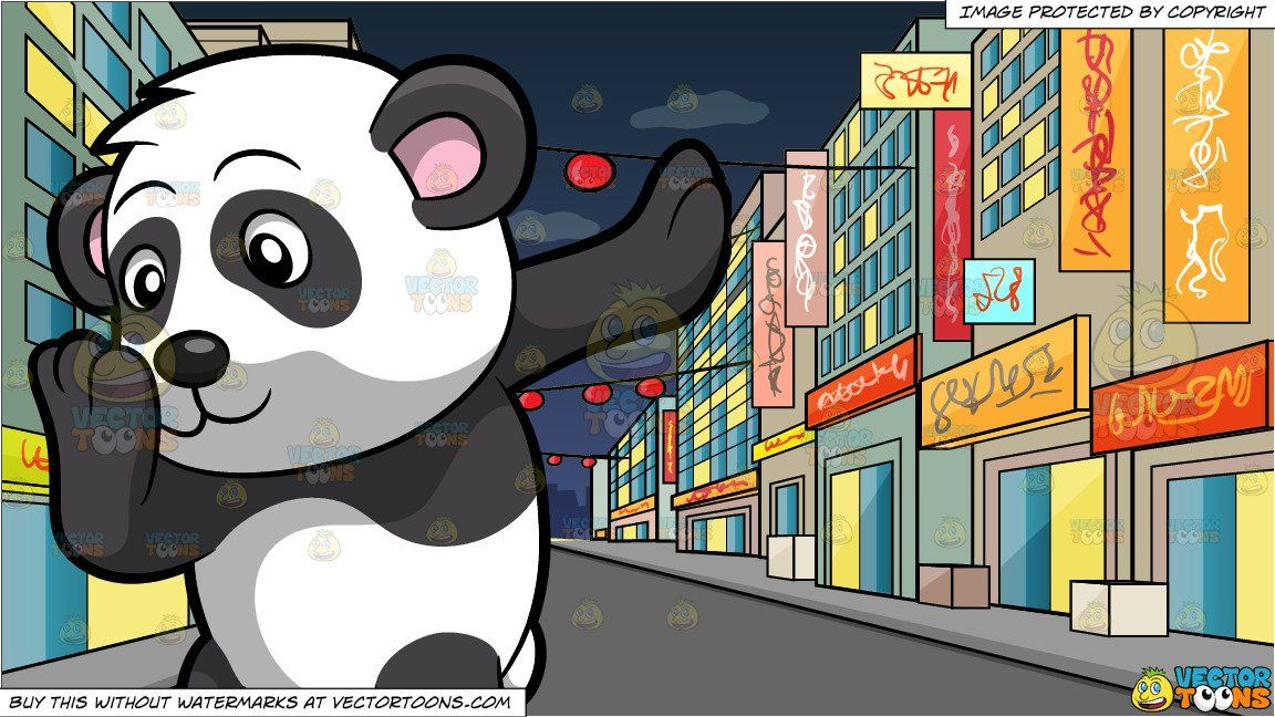 clipart #cartoon A Dancing Panda and A Street In Chinatown.