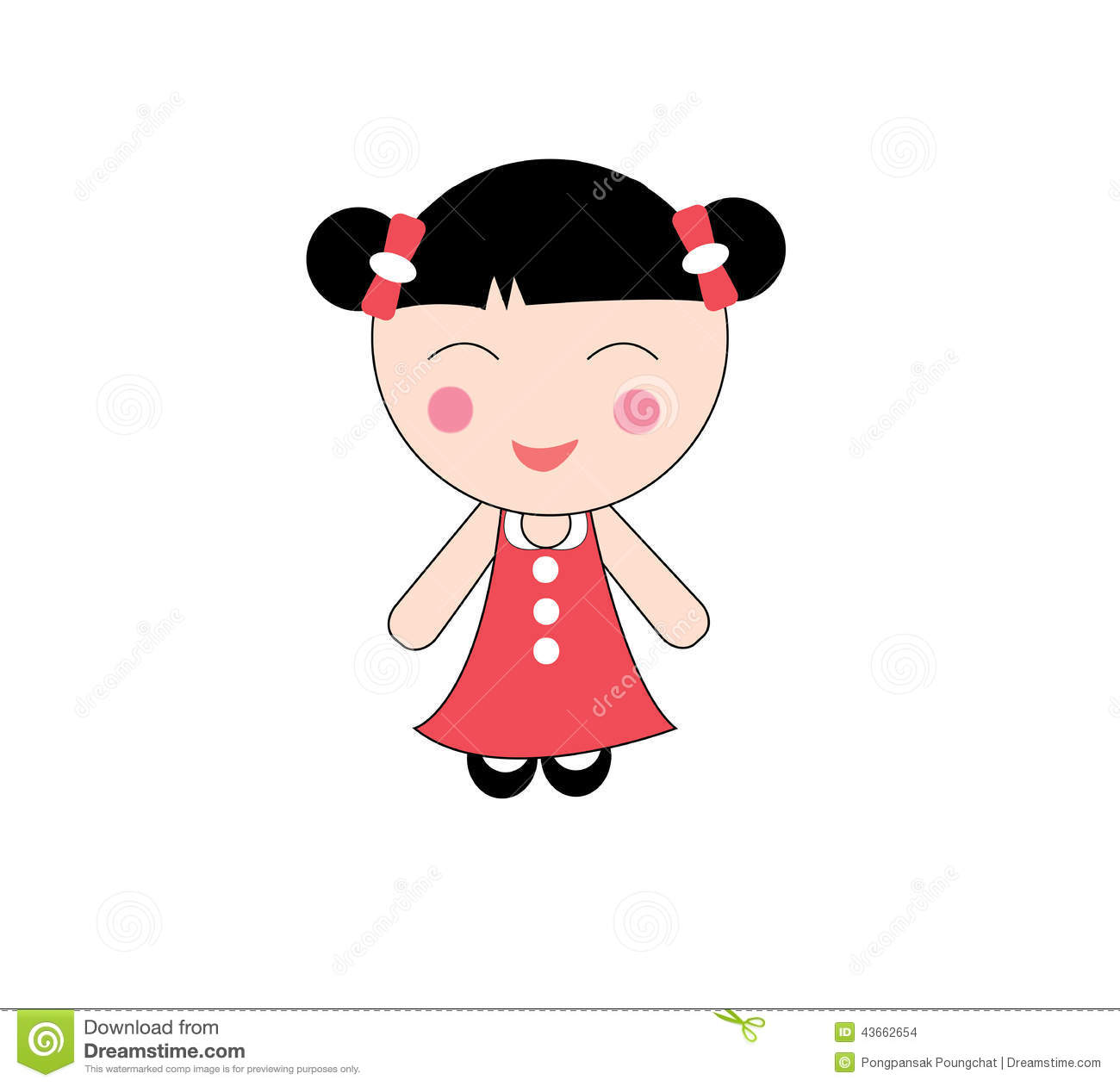 Chinese girl stock vector. Illustration of clipart, cartoons.