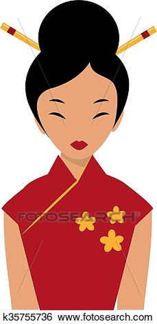 Beautiful Chinese girl in traditional cheongsam red dress chopsticks in  hair cartoon flat. Clip Art.