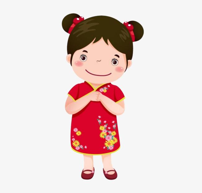 Chinese Girl, Chinese Clipart, Red Cheongsam, Cartoon PNG.