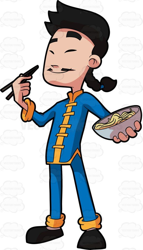 A Chinese man eating noodles #cartoon #clipart #vector.