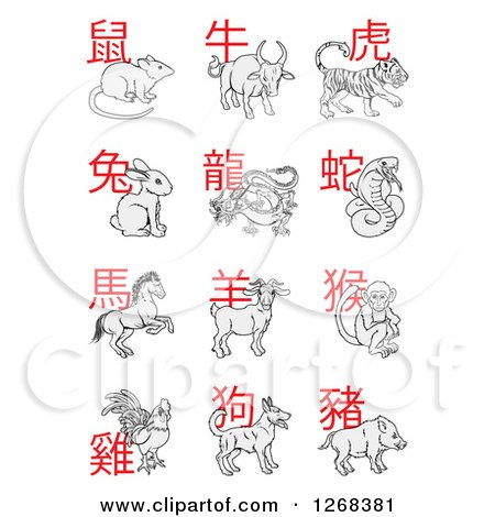 Clipart of Text and Chinese Zodiac Animals.