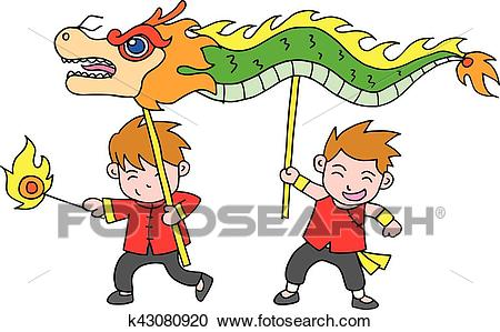 Chinese new year festival dragon dance Clipart.