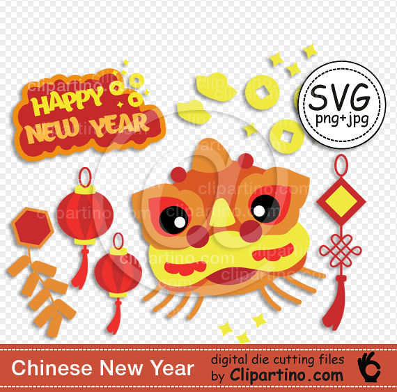 Chinese New Year svg cut Dragon svg clipart die cutting.