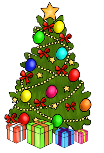 Clip Art Christmas Tree With Presents.