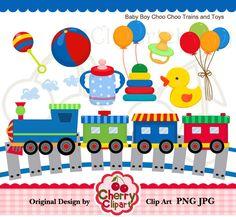 Baby Girl Choo Choo Train ABC / Alphabet Train Clipart.