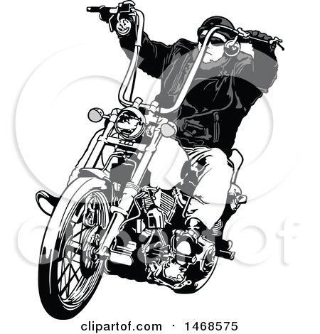 Clipart of a Grayscale Biker on a Chopper.