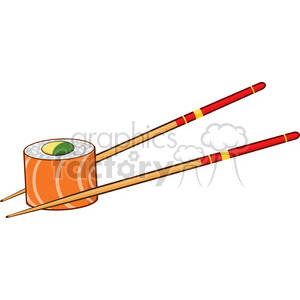 9403 illustration sushi roll with chopsticks vector illustration isolated  on white clipart. Royalty.