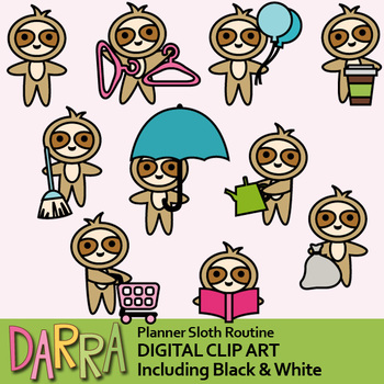 Sloth clip art / planner clipart / Routine task, chores, activities.