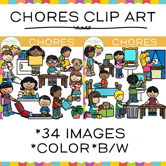 Kids Chores Clip Art.
