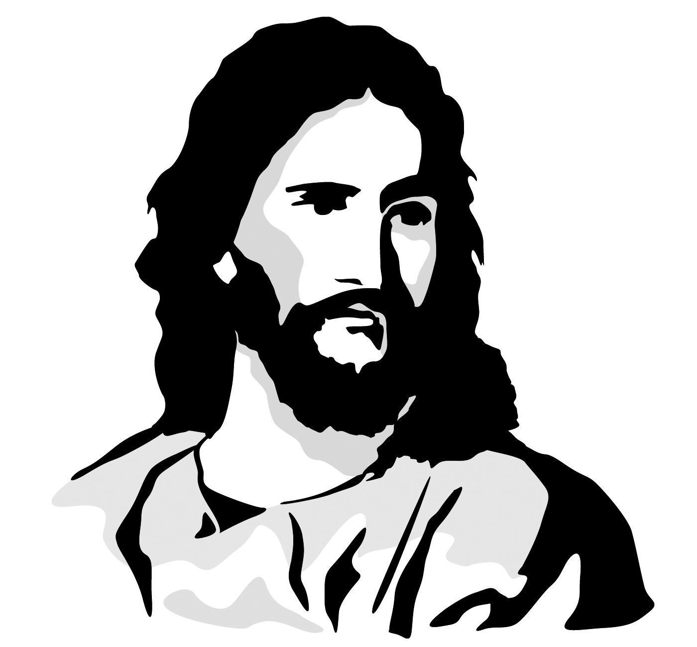 black and white free clip art of Jesus Christ.