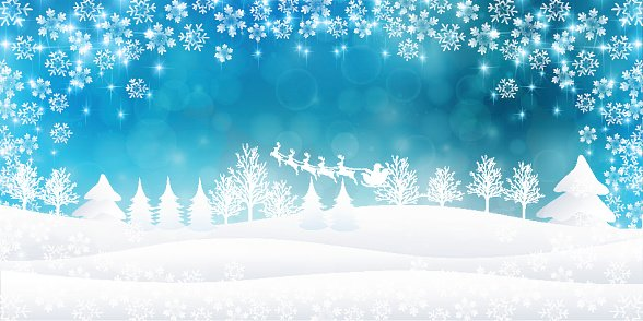 Snow Christmas background Clipart Image.