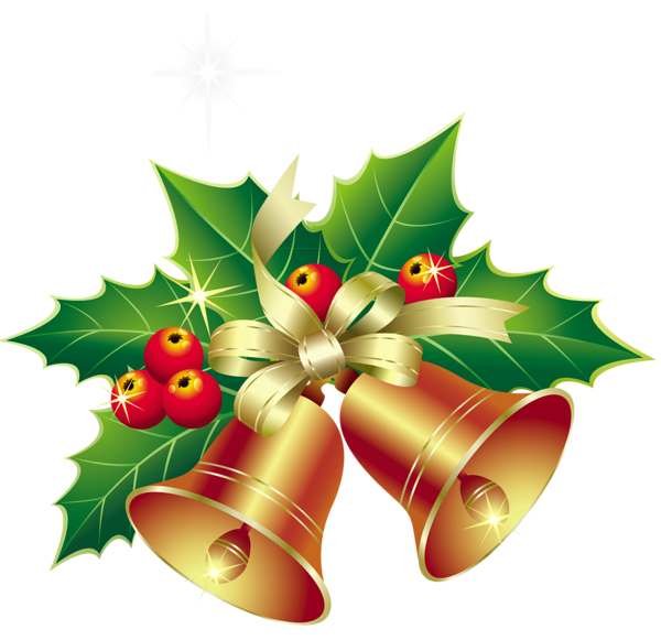 Christmas Bells with Mistletoe Ornament PNG Clipart.