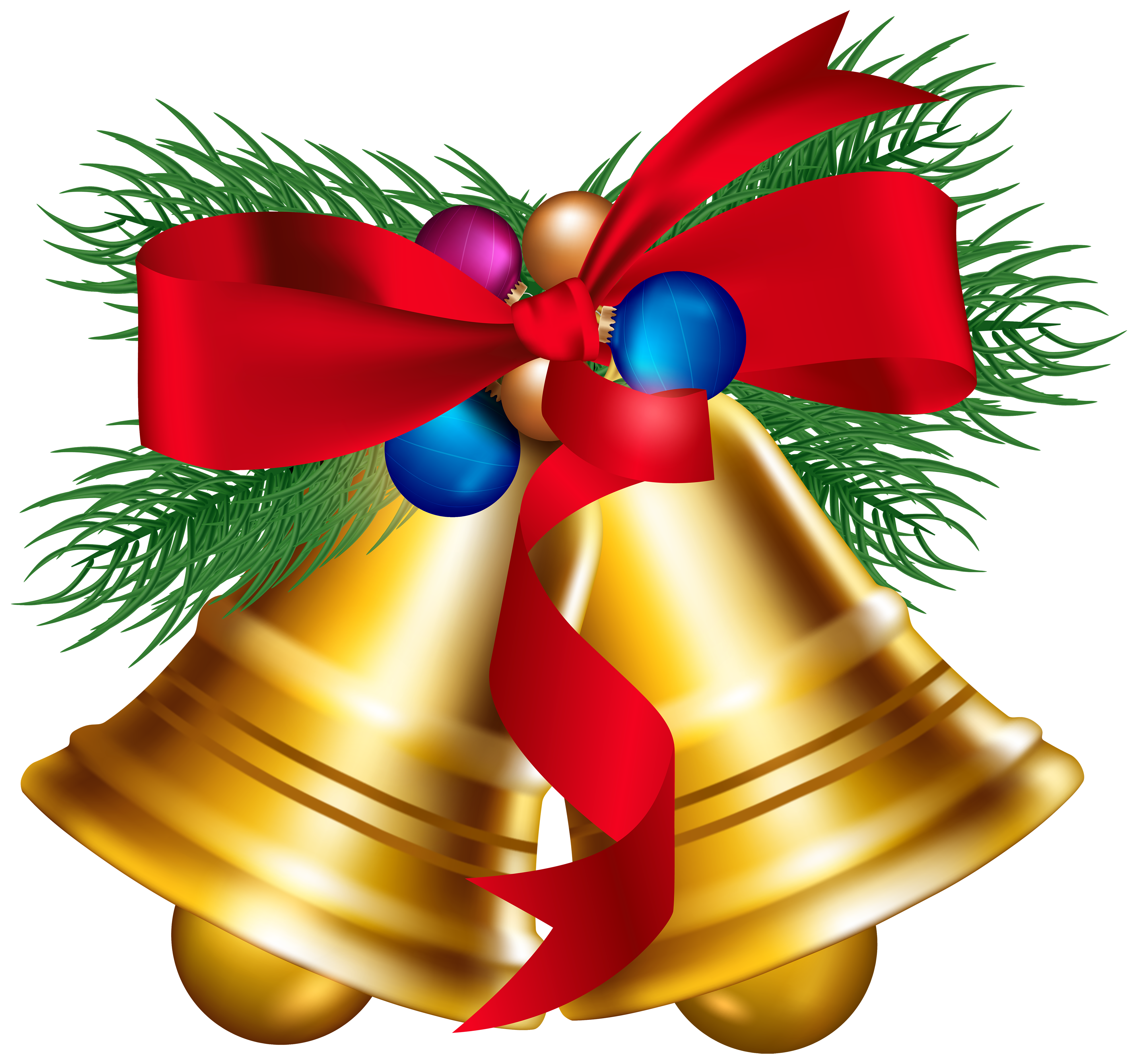 Christmas Bells with Christmas Ballls PNG Clipart Image.