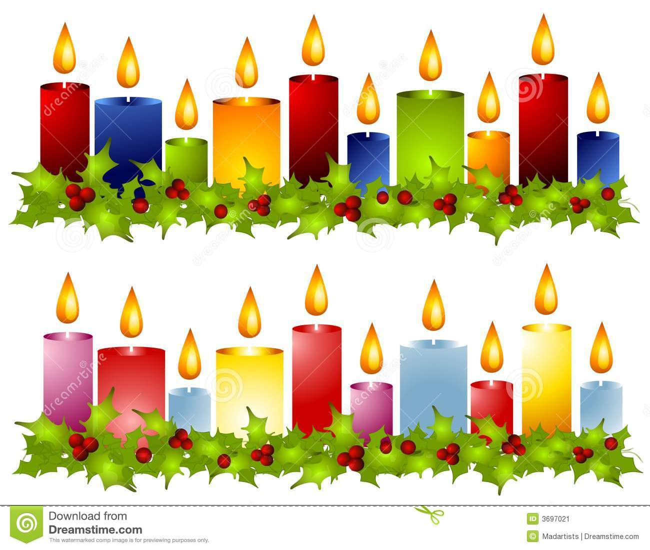 Christmas Candles Border Clipart.