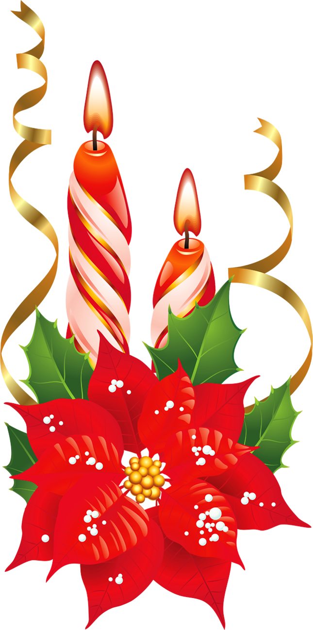 Poinsettia clip art with a candle.