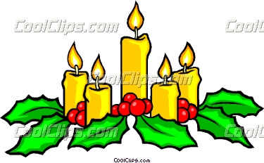 Festive Christmas candles Vector Clip art.