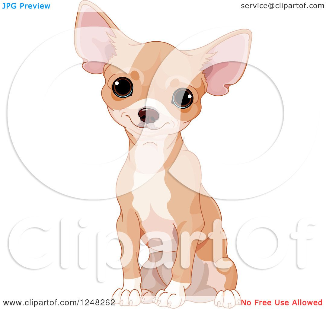 Clipart of a Cute Tan Chihuahua Dog Sitting.