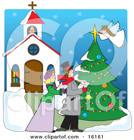 Church christmas tree decorating clipart.
